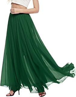 Womens Casual Floral Chiffon Maxi Skirt Cute Polka Dot Flowy Long Beach Dress