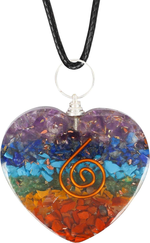 Art of Creation 7 Chakra Heart Shape Pendant Necklace For Women And Girls | EMF Protection | Energy Generator | Fashion Yoga Jewelry (7 Chakra)