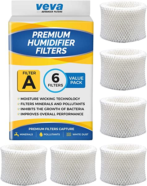 VEVA 6 Pack Premium Humidifier Filters Replacement For HW Filter A HAC 504 HAC 504AW HCM 350 And Other Cool Mist Models