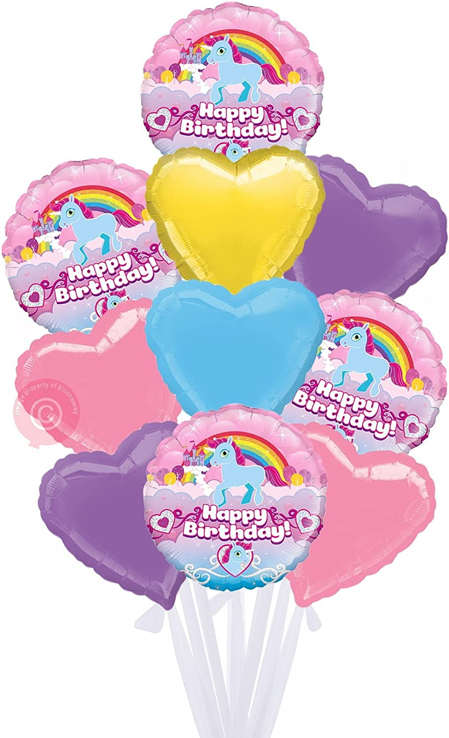 Unicorn Rainbow Birthday Holographic  Inflated Birthday Helium Balloon Delivered in a Box  Biggest Bouquet  10 Balloons  Bloonaway