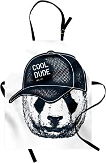 Lunarable Vintage Dude Apron, Hipster Panda Furry with a Cool Dude Hat on His Head, Unisex Kitchen Bib with Adjustable Neck for Cooking Gardening, Adult Size, Dark Petrol Blue White