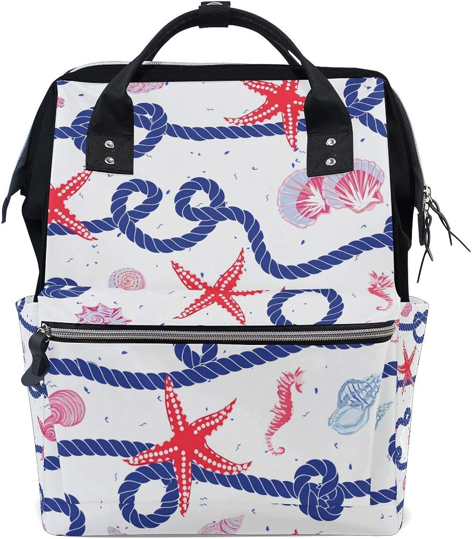 798fc2289a648 ColourLife Diaper bag Backpack Starfish Rope Tote Bag Casual Daypack ...