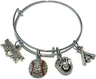 Baseball Bracelet, Baseball Jewelry, Baseball mom Bracelet, Sports Bracelet, Baseball Charm, Baseball Bats Charm, Baseball Gloves Charm, Wire Bracelet, Bangle Bracelet