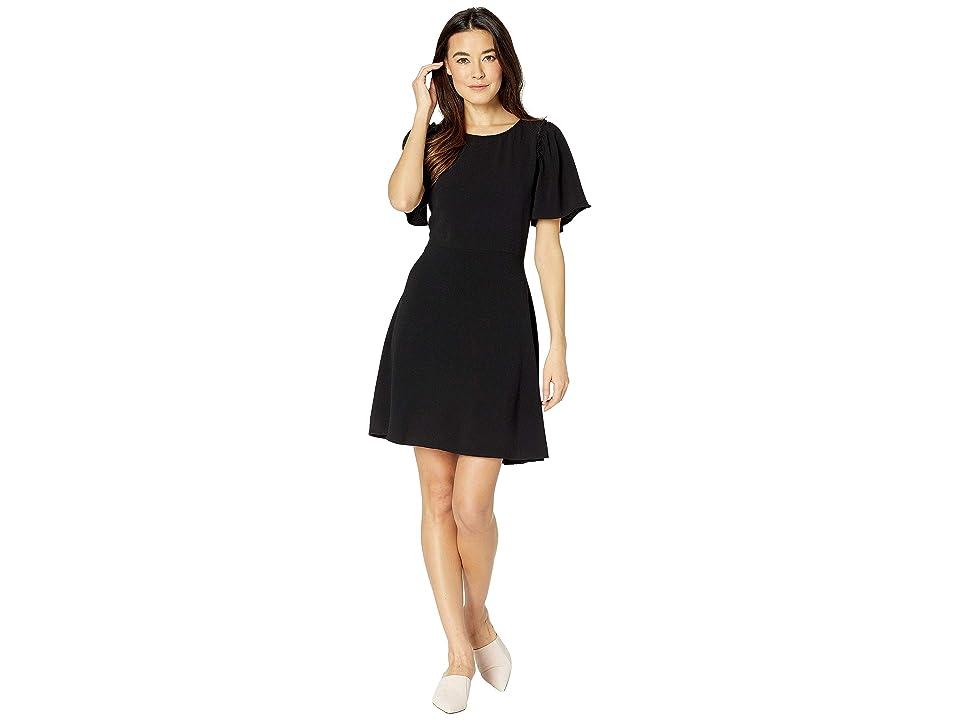 Bobeau Short Sleeve Flutter Tie Back Dress (Black) Women