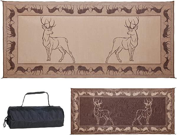 Stylish Camping PE1 Black Brown Beige 8 Feet X 18 Feet Deer Mat