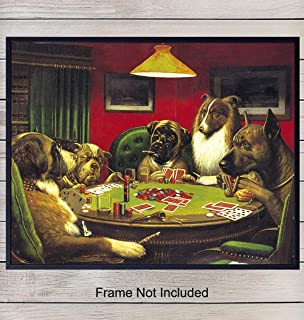 Vintage Poker Painting Art Print - Rustic Chic Home Decor for Game Room, Den, Man Cave, Office, Bedroom - Great Gift for Card Players, Gamblers, Las Vegas Fans - 8x10 Wall Art PosterPhoto - Unframed
