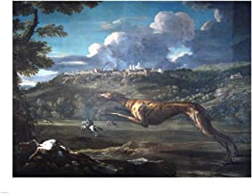 Pace, Michelangelo, Greyhound, Rabbit, and The Castle of Ariccia Art Print, 13 x 10 inches