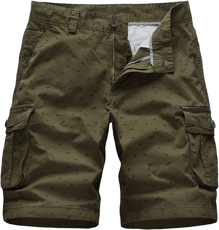 LZJDS Men's Shorts 100% Cotton Outdoor Cargo Shorts Breathable Climbing Straight Shorts Multi-Pockets Five-Point Pants,Green,31