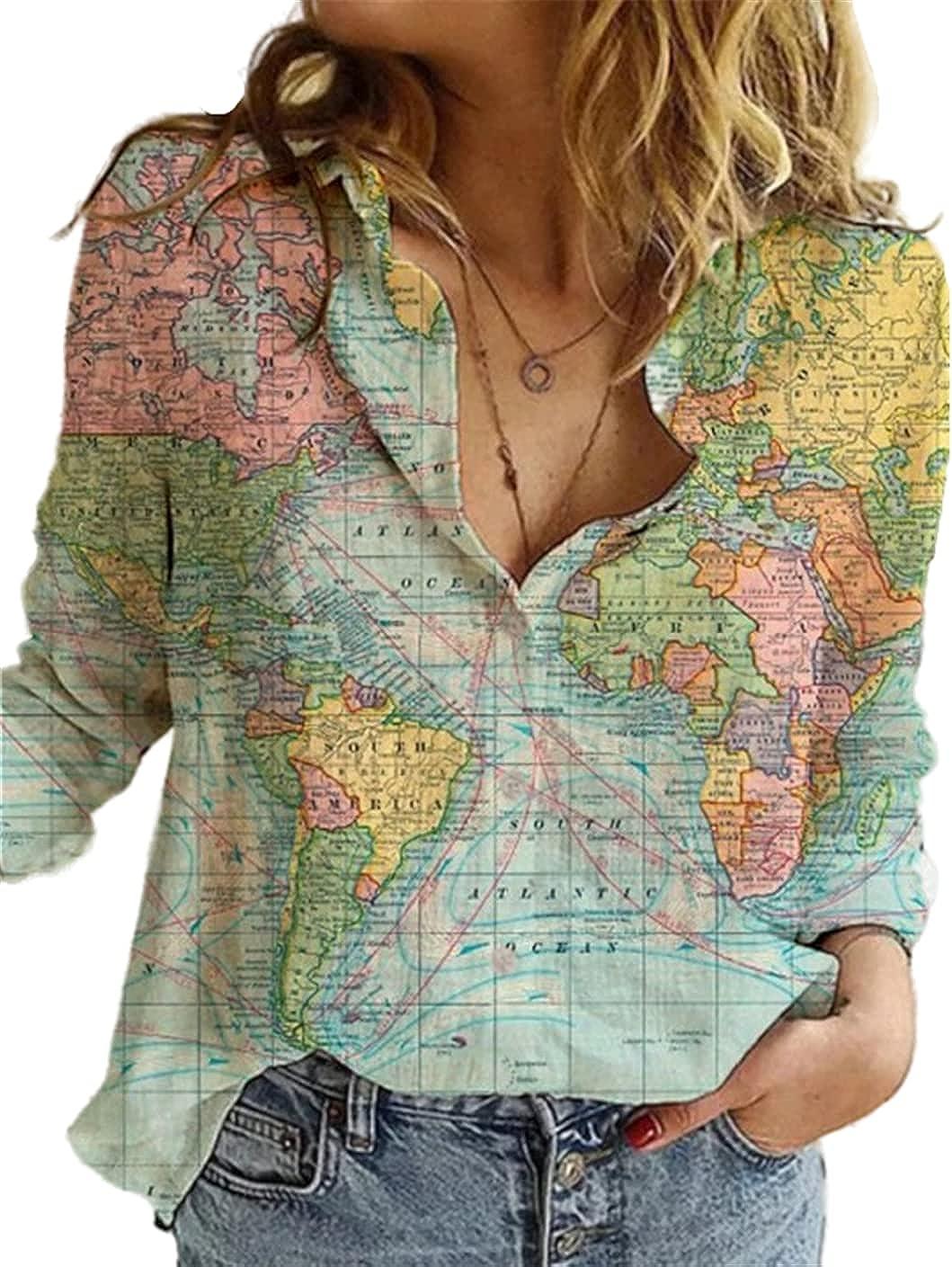 FRMUIC Women's Lapel Button Shirt World Map Print Long Sleeve Loose Casual Top