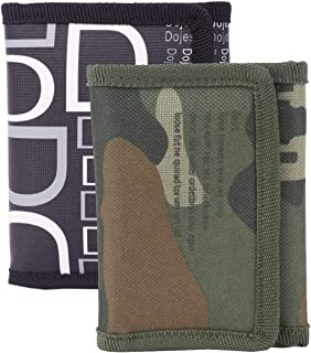 TeeMoods NylonTrifold Printed Men's Wallets (Black and Green)- Pack of 2