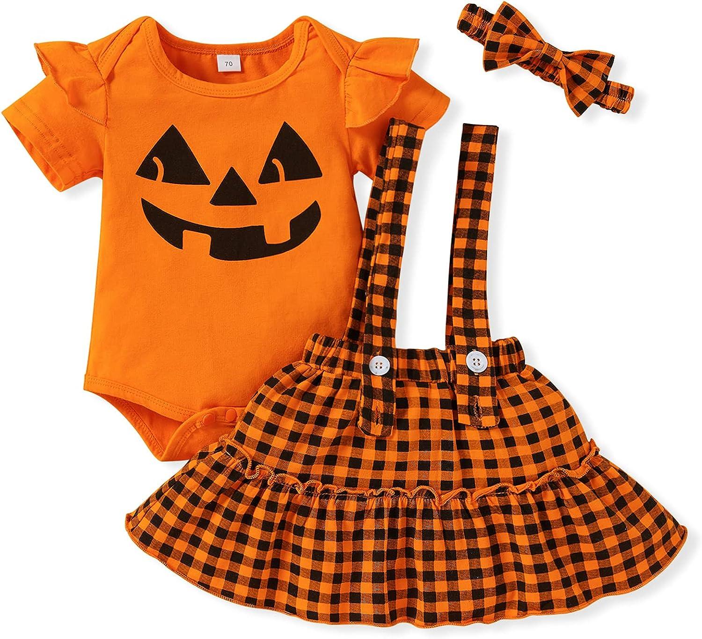 Baby Girl Halloween Clothes Newborn Ruffle Sleeve Pumpkin Romper Plaid Suspender Skirt Shorts Outfits