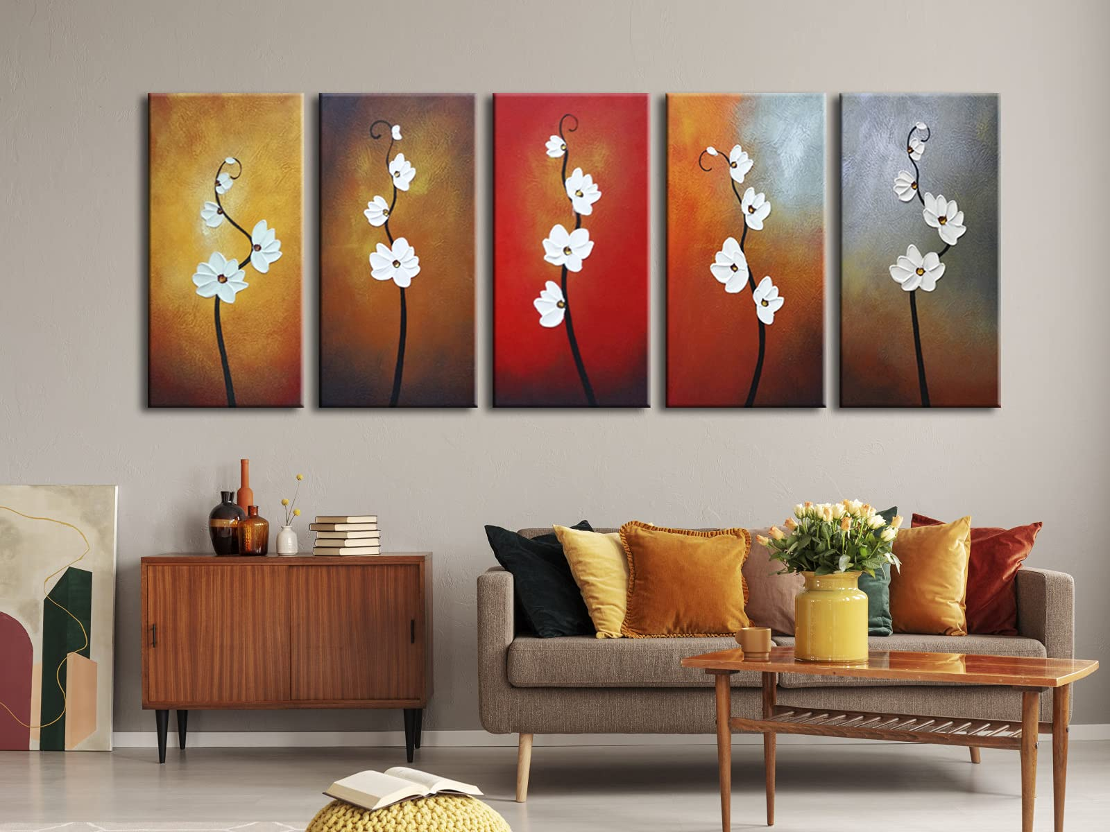 Wieco Art Large Modern Colorful Flowers Artwork 5 Piece 100% Hand Painted Framed Contemporary Abstract Floral Oil Painting on Canvas Wall Art Ready to Hang for Living Room Bedroom Home Decorations