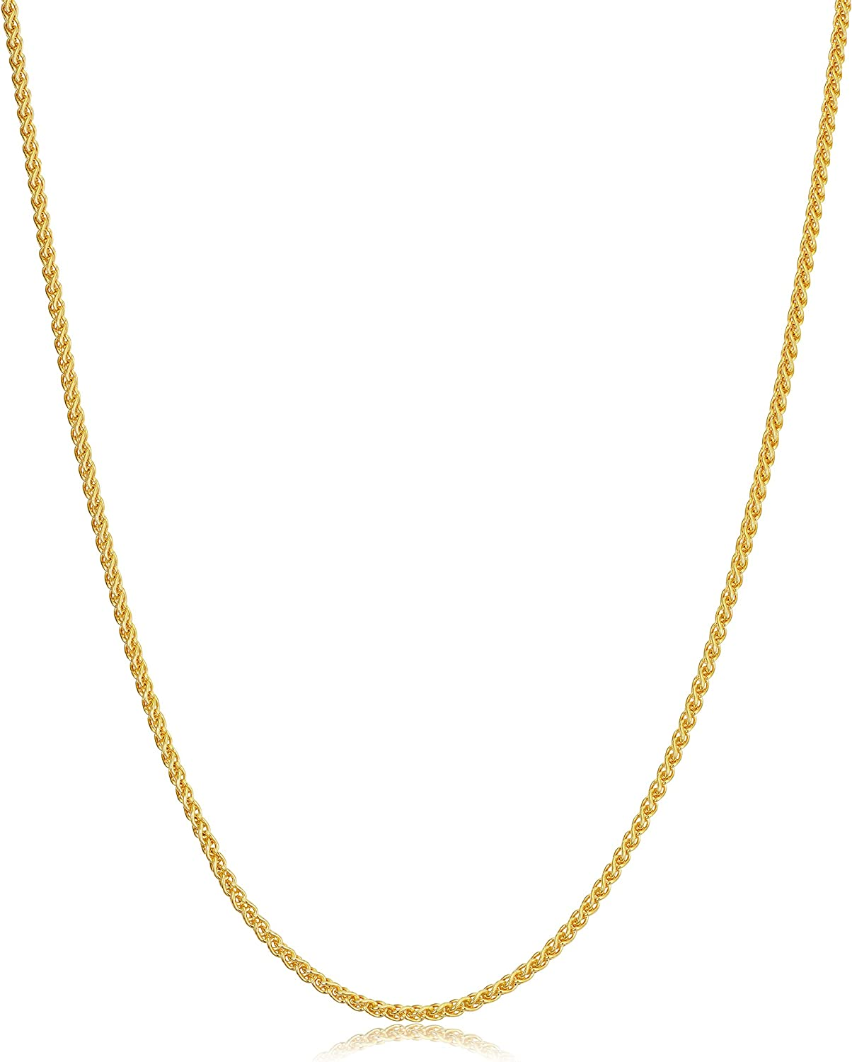 14k Yellow Gold Filled or White Gold Filled Round Wheat Chain Pendant Necklace (0.8 mm, 1.2 mm, 1.5 mm or 2.5 mm)