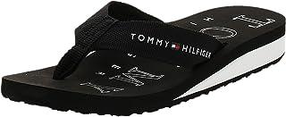 Tommy Hilfiger Women's Flag Wedge Flip-Flop, Color: Black, Size:40 EU