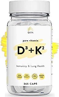 Vitamina D3 + K2 (365 DIAS) - Vitamina D + Vitamina K. Mejora el Sistema Inmune. Funcion Muscular. Protege los Pulmones y Mejora Huesos/Dientes - Sin Gluten & Sin Soja +MEDICOS