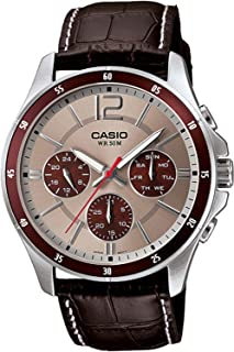 Casio Men's Silver Dial Leather Band Watch - MTP-1374L-7A1