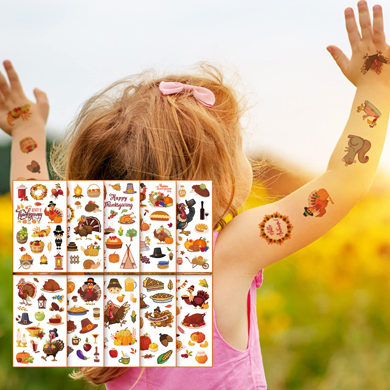 Kids Thanksgiving Day Temporary Tattoo 10 Stickers Sheets Autumn New arrival Seattle Mall