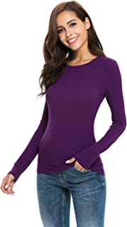ea3ffdf640 Women Basic Long Sleeve Crew Neck Comfy Layering Slim Fit Stretch Henley  Tees Shirts Top