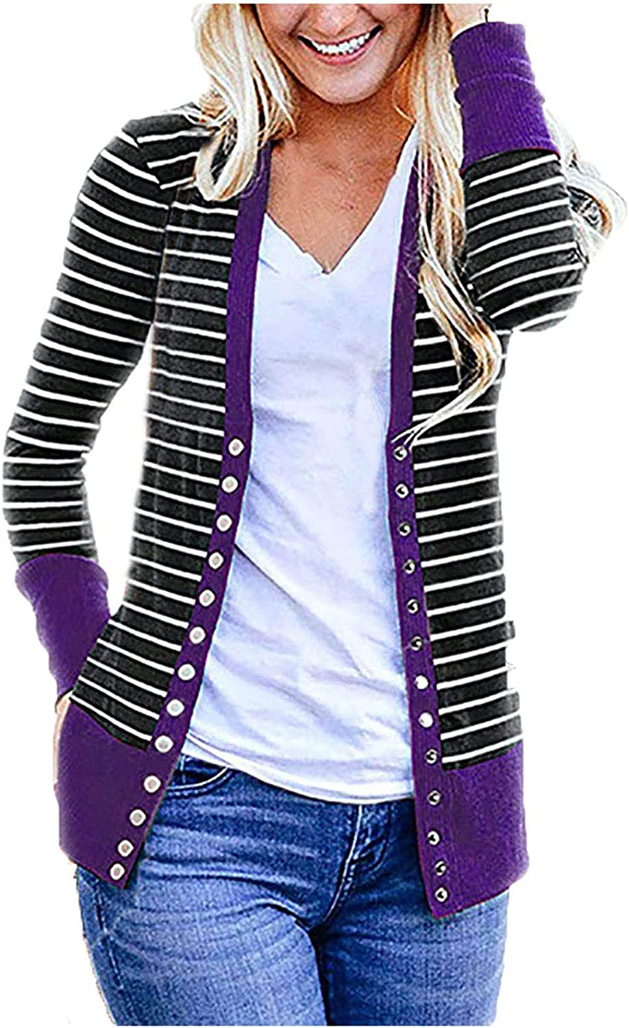 Kanzd Cardigans for Women Fashion Women's Long Sleeve Snap Button Down Stripe Knit Ribbed Neckline Cardigans Sweaters