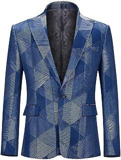 YOUTHUP Mens Suit Jacket Peak Laple Slim Fancy Blazer Floral Chic Coat