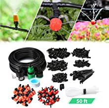 AGSIVO Drip Irrigation Kits Garden Watering System Included 50 Feet Tubing Connectors Hole Puncher Atomizing Nozzle Mister Dripper and All Accessories for Plant Watering