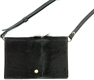 Black Cowhide Leather Festival Belt Bag Converts to Cross Body Purse