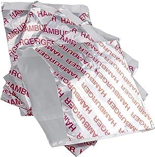 ريترو، أغطية برغر المقاومة للدهون 50 قطعة لوازم طبخ رائعة خالية من البيسفينول. أكياس الهامبرغر كبيرة ومعزولة. ورق ورق الشو...