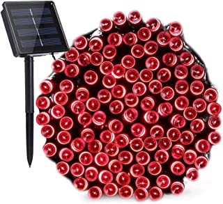 Solar Christmas Lights Red Lights, 72ft 200 LED 8 Modes Solar String Lights, Waterproof Solar Fairy Lights for Garden, Patio, Home, Holiday, Party, Outdoor Christmas Decorations (Red)