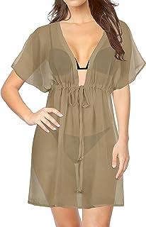 LA LEELA Frauen Damen Rayon Kaftan Tunika Bestickt Kimono freie Größe kurz Midi Party Kleid für Loungewear Urlaub Nachtwäsche Strand jeden Tag Kleider