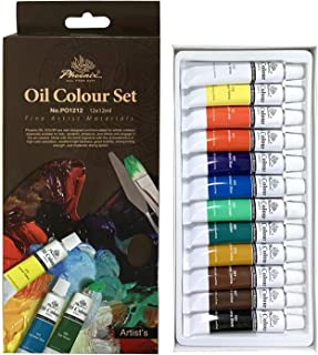 PHOENIX Oil Color Paint Set of 12 Tubes x 12 ml - Non-Toxic Paints for Kids, Students, Beginners & Artists