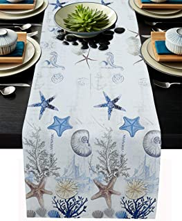 Coral  Starfish Sea Cotton Sateen Table Runner by Spoonflower Nautical Table Runner Undersea Treasures Blue On White by heather/_anderson