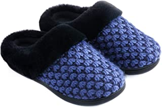 Women's Knit Memory Foam Slippers Faux Fur Collar House Shoes w/Indoor, Outdoor Anti-Skid Rubber Sole