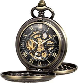 Pocket Watch Skeleton Hand-Wind Mechanical Double Case Roman Numerals Antique with Fob Chain Box