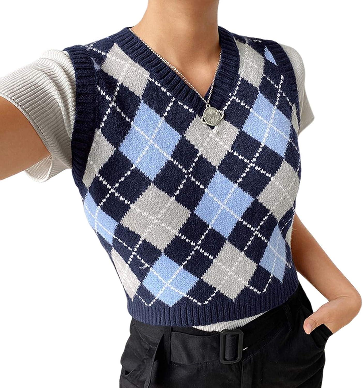 Women's Knitted Cotton V-Neck Vest JK Uniform Pullover Y2k 90s E-Girl Sleeveless Crop Sweater School Cardigan (A-Indigo/Blue/Grey-Checkered,Medium)