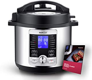 Geek Chef 6 Qt 17-in-1 Multi-Use Electric Pressure Cooker Stainless Steel Inner Pot Programmable LCD Display Digital Slow Cooker, Rice Cooker, Yogurt Maker, Egg Cooker, Sauté, Steamer, Warmer