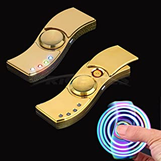 Metal Hands Fidget Spinner Toy Stress Reducer - Rechargable LED Light Flashing - EDC Fidgeter Stress Relief Stainless Steel Bearing High Speed (TYPE 2, gold)