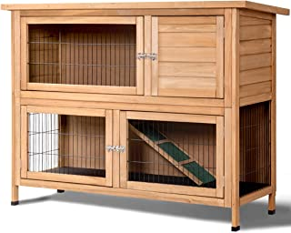 """Tangkula Rabbit Hutch Outdoor Garden Backyard Wood Hen House Wooden Chicken Coop Rabbit Hutch Poultry House Small Animal Cage (52"""")"""