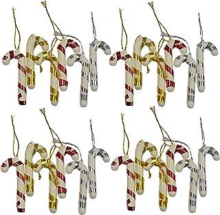 Evisha 12 pcs Hocky Stick Candy Cane Christmas X-Mass Tree Decoration Hangings Ornaments