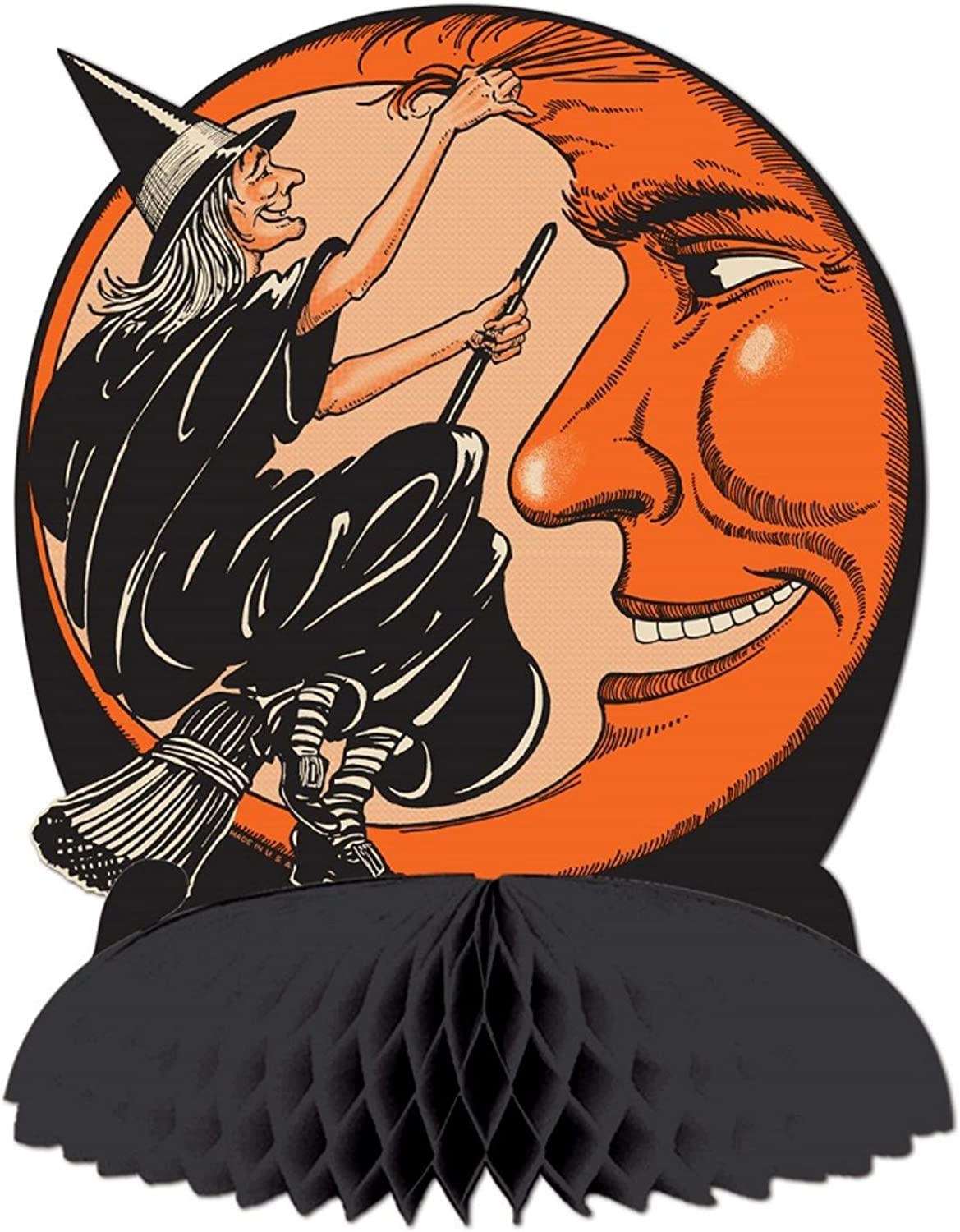 Club Pack of 12 Black and orange Witch and Moon Centerpiece Halloween Decorations 9.75