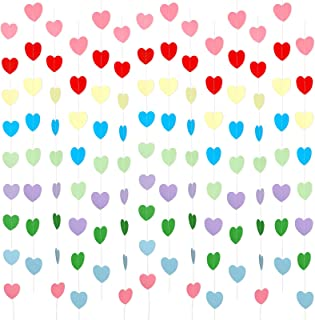 14 Pack Rainbow Color Heart Garlands 82.6 Feet/ 27.4 Yards Birthday Paper Heart Decorations Paper Hanging Heart Shape Garl...