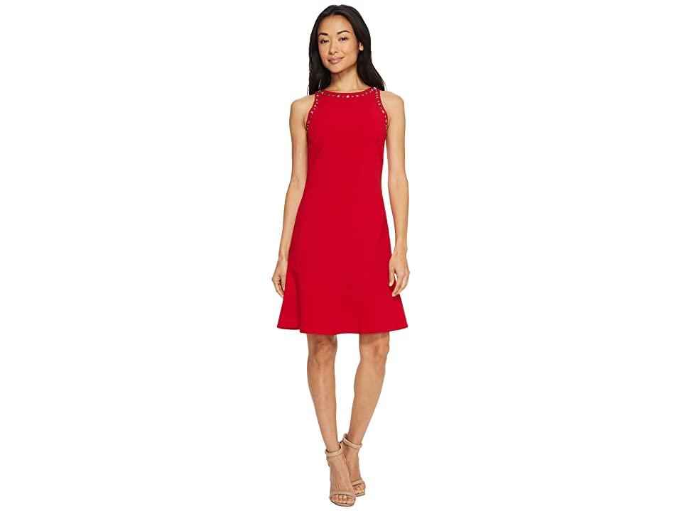 Ellen Tracy Sleeveless Flounce Hem Dress (Rouge) Women