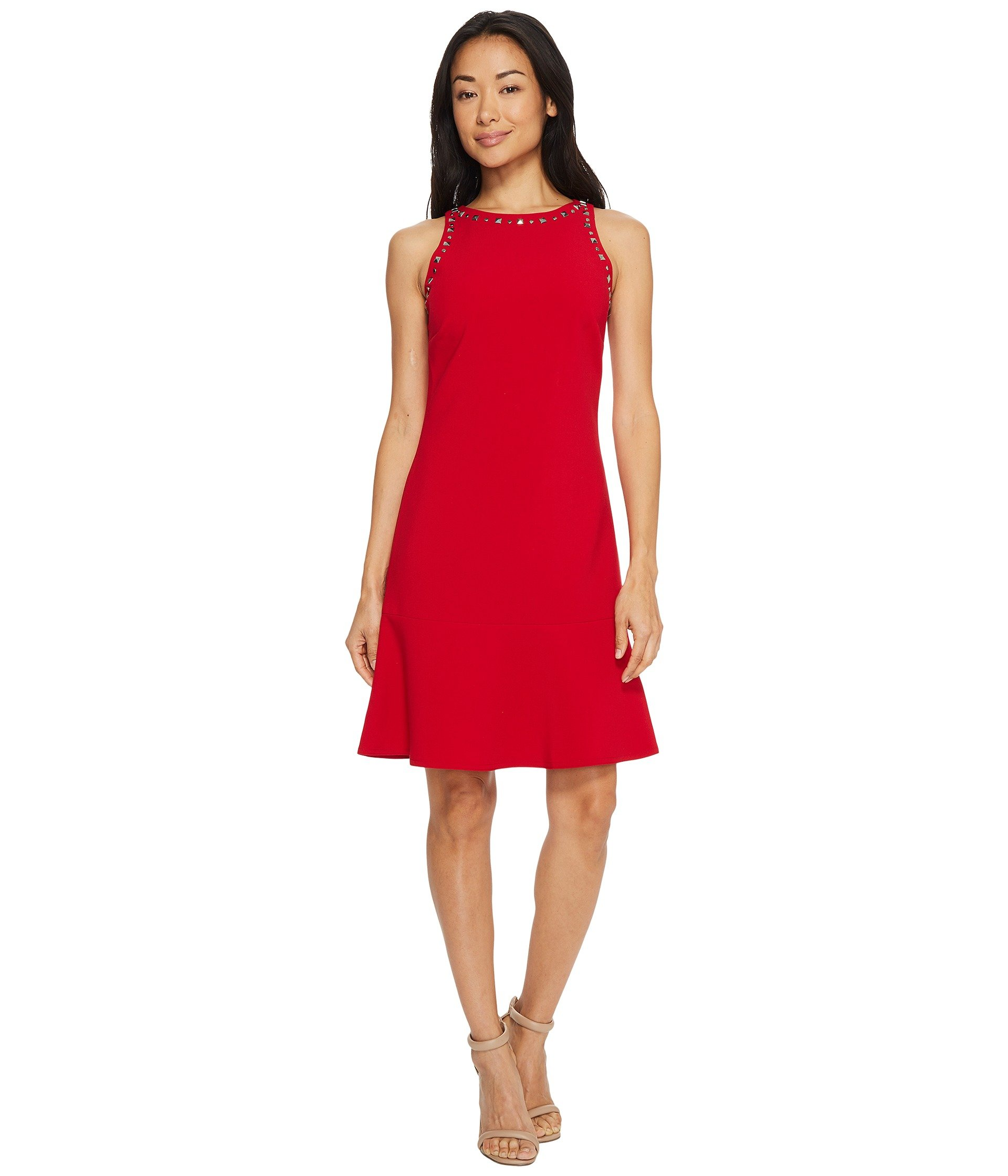 ELLEN TRACY Sleeveless Flounce Hem Dress, Rouge