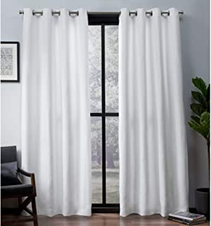 Exclusive Home Curtains Leeds Textured Slub Woven Blackout Window Curtain Panel Pair with Grommet Top, 52x108, Winter White, 2 Piece