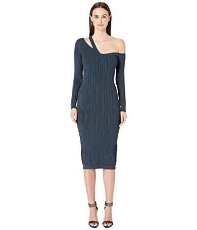 Cushnie Off the Shoulder Long Sleeved Knit Pencil Dress (Storm) Women
