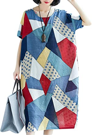 Women's Linen Cotton Printed Loose Round Neck Pullover Dress