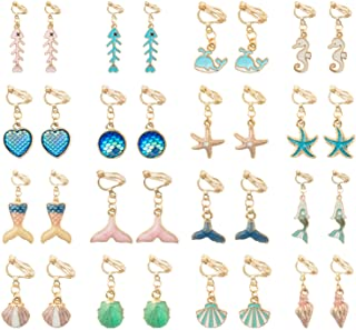 SOTOGO 16 Pairs Clip On Earrings Mermaid Starfish Dolphin Earrings for Little Girls and Women