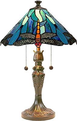 Dale Tiffany Lamps TT19215 Huxley Dragonfly Tiffany Table Lamp, Antique Bronze