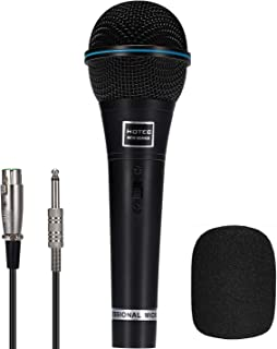 Hotec Professional Vocal Dynamic Handheld Microphone with 19ft Detachable XLR Cable and ON/OFF Switch (Metal Black) H-W06B