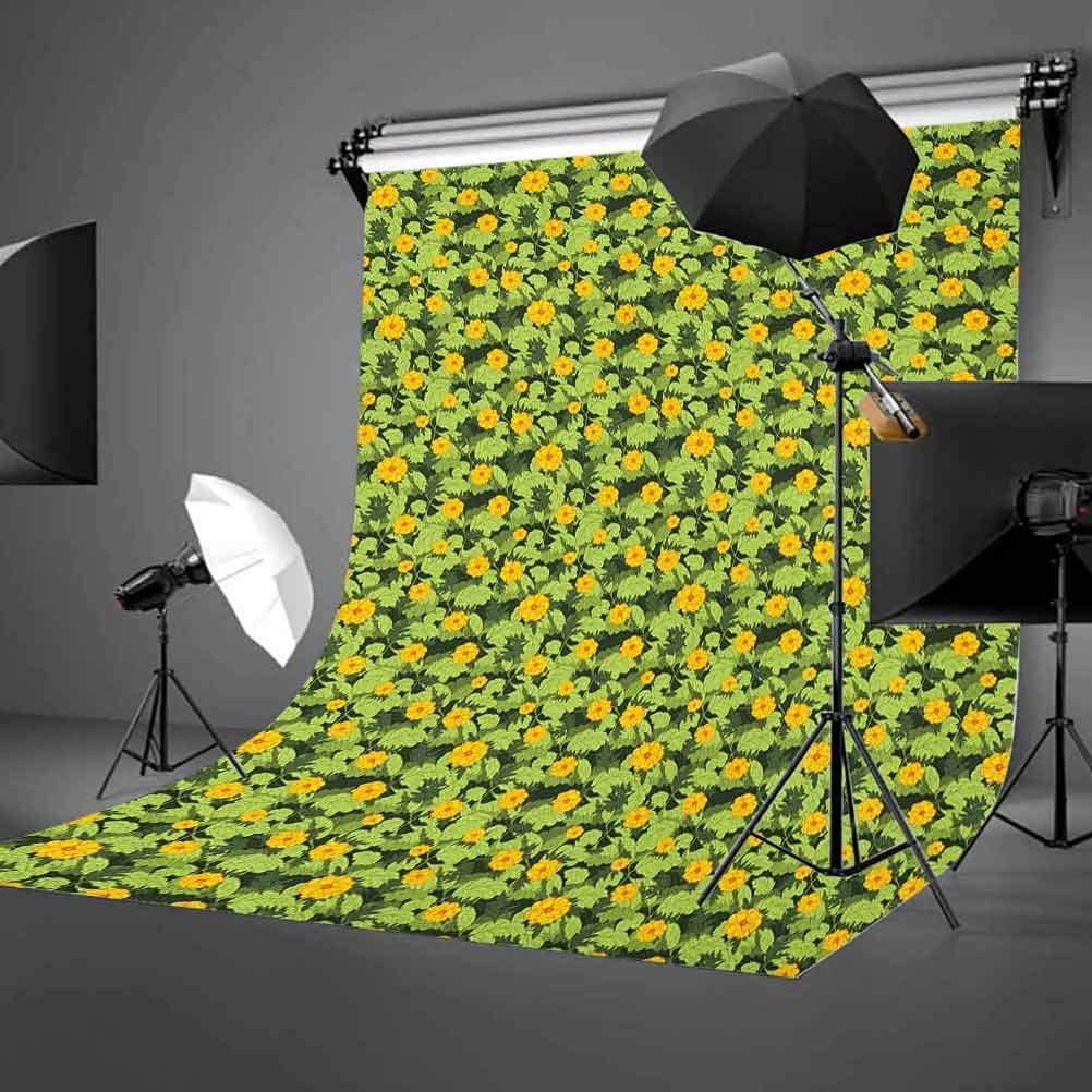8x12 FT Flower Vinyl Photography Background Backdrops,Blooming Nature Design with Fresh Vibrant Foliage Hand Drawn Image Background for Selfie Birthday Party Pictures Photo Booth Shoot