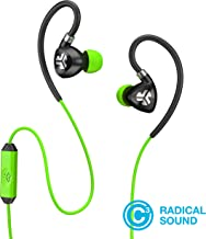 JLab Audio Fit2 Sport Earbuds, Sweatproof, Water Resistant with in-Wire Customizable Earhooks, Guaranteed Fit, Guaranteed for Life - Green/Black